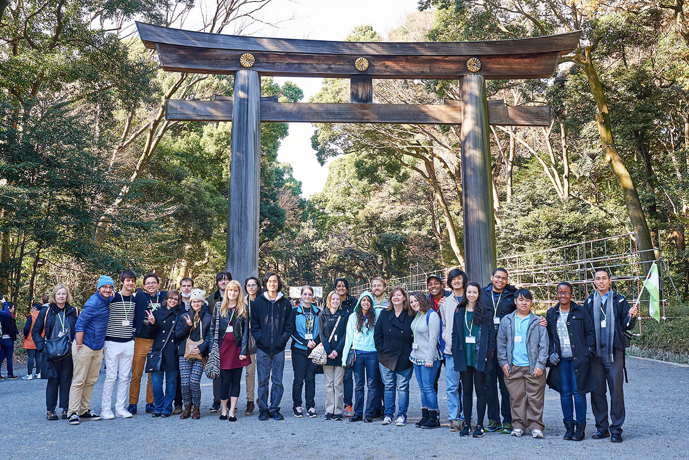 Students in front of the Meiji Shrine, Tokyo