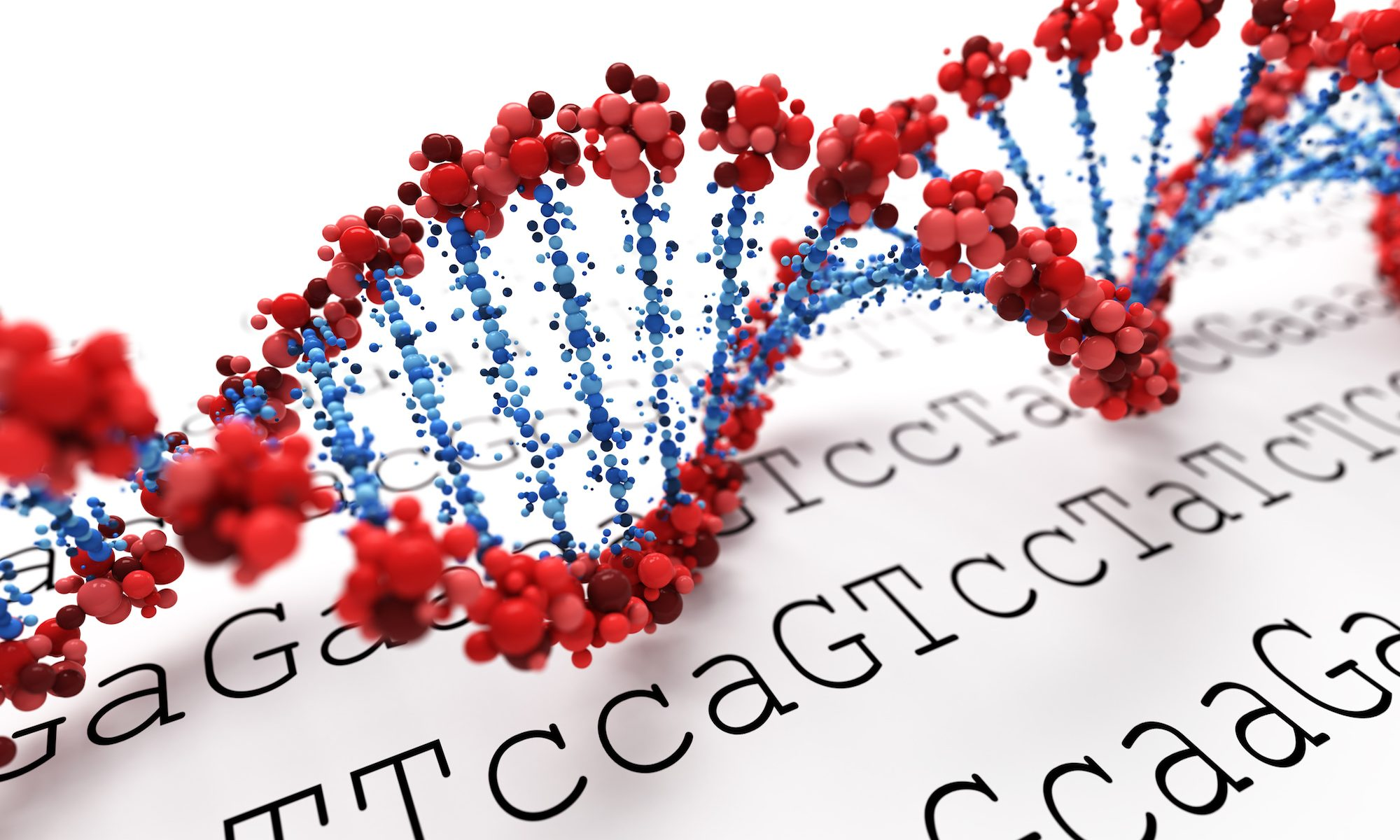 illustration of double helix with genetic sequence in background