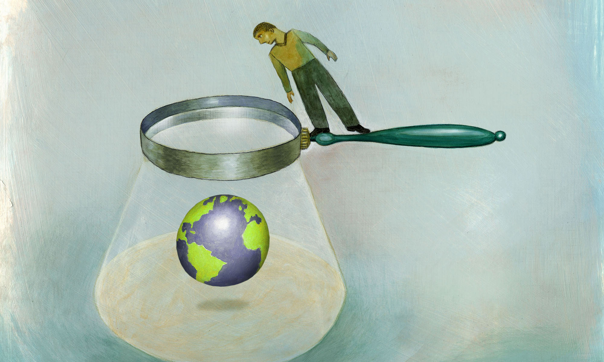 illustration of person looking through giant magnifying glass at a globe
