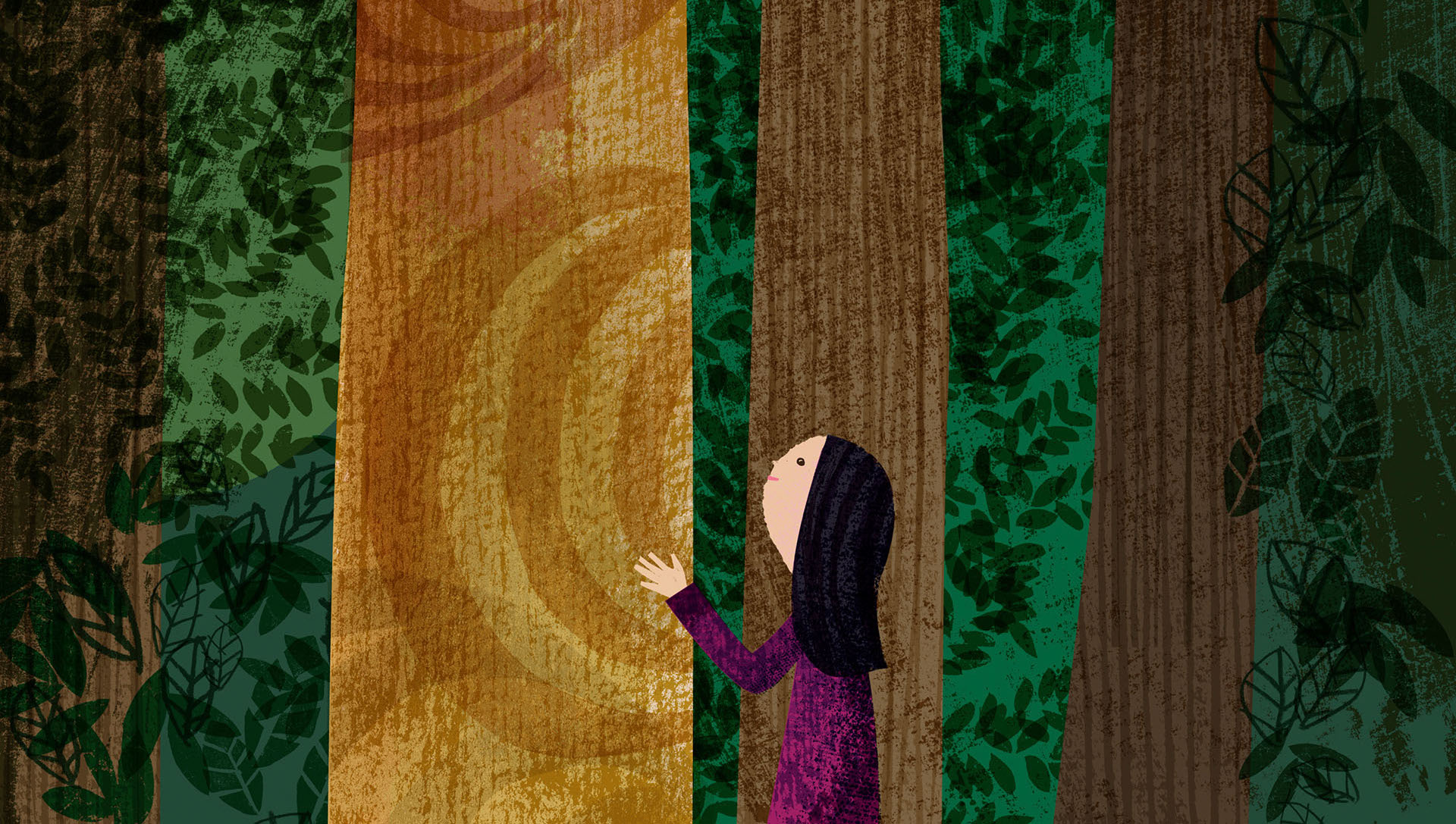 whimsical painting of girl touching tree