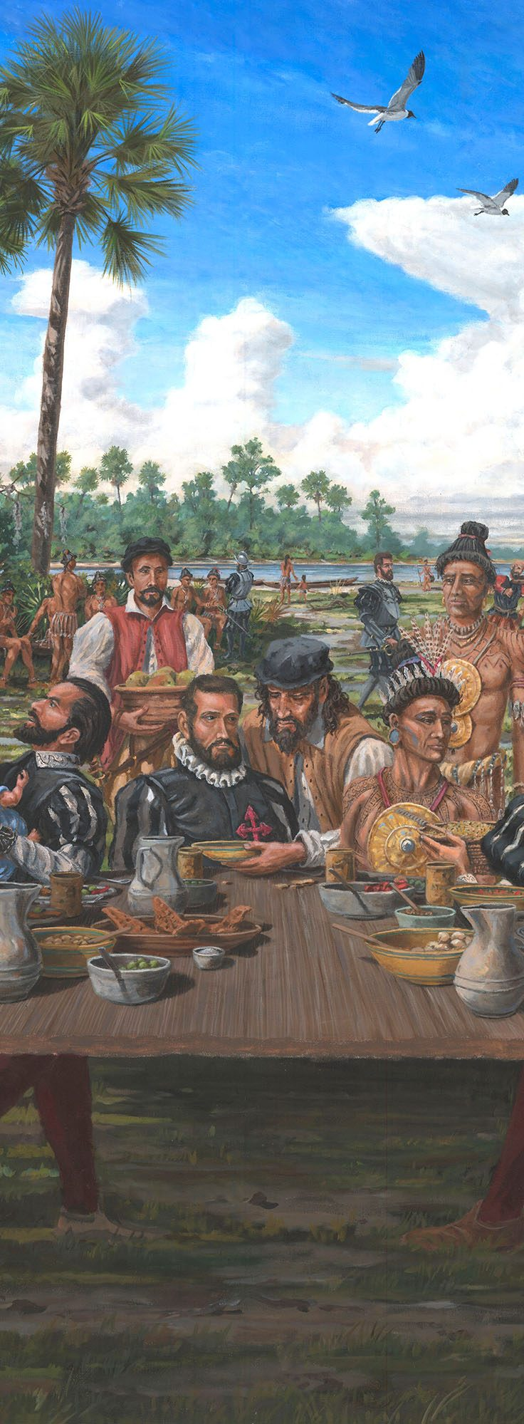 painting of Spaniards and Native Americans sharing food and drink