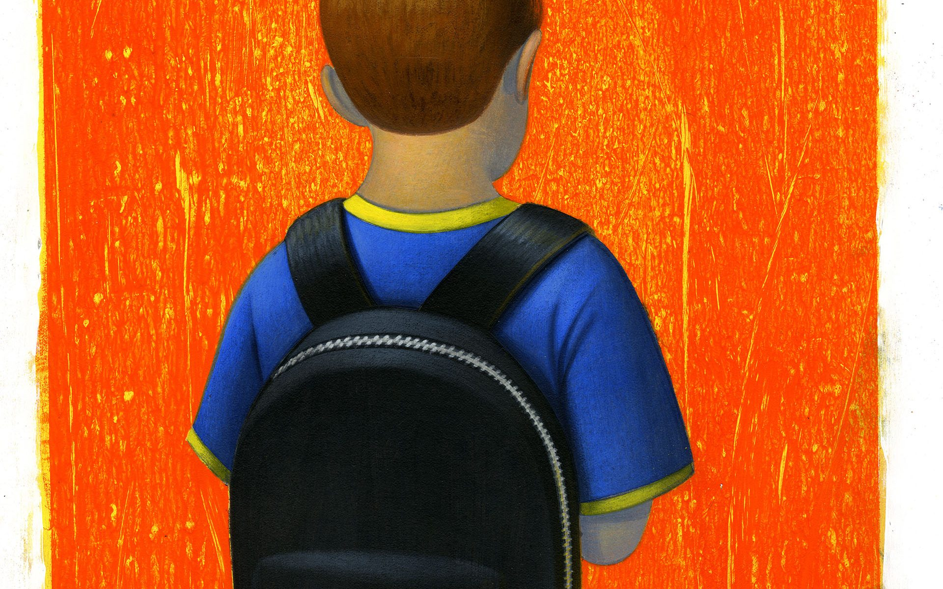 illustration of young boy with backpack facing away, against orange background