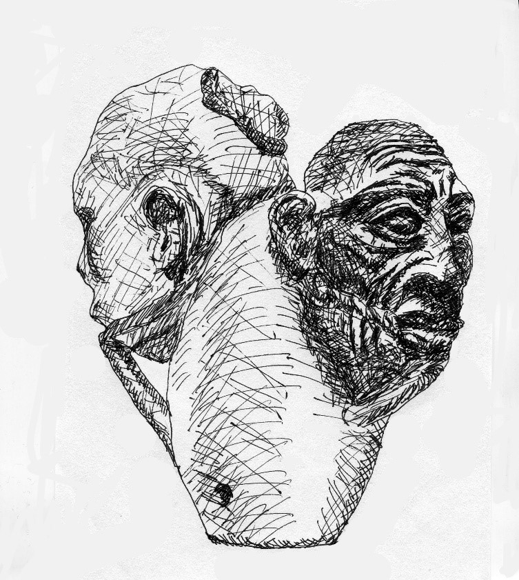 Fig. 1. This bronze mace head exemplifies an èpè-graphic àṣà, and shows two gagged, unidealized sacrificial victims. Drawing of an 11th-15th century Ifẹ work in the collection of the National Commission for Museums and Monuments, Nigeria.