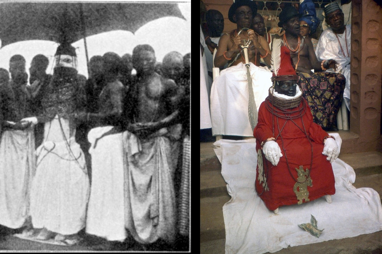Fig. 4. While ákó figures are not known to have represented monarchs at Ọwọ, they do so at Benin for the Ọba (left), his mother the Iyọba (right), and certain high chiefs. Left, Ọba Ovaranmwẹn's ákó in a 1914 photo by W. B. Rumann; right, Iyọba Erediauwa's ákó in a 1998 photo by Kathy Curnow.