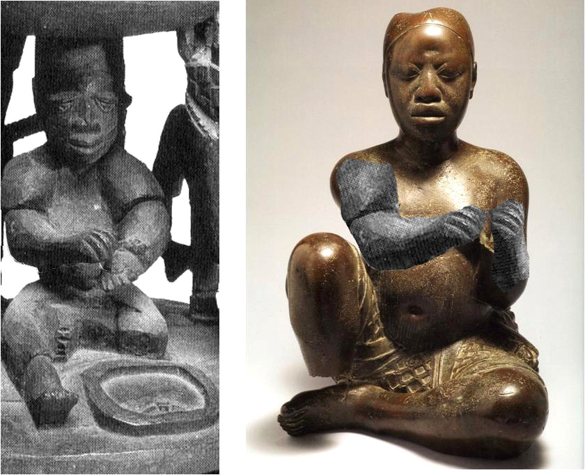 Fig. 2. At right, the forearms of the late 14th-century Tada copper figure have been digitally reconstructed, their position heightening its resemblance to the carved diviner shown at left in a detail from a 20th-century agere-Ifá. Right, created by Paul Chapin, Amherst College, Amherst, MA after piece 79.R.18 in the collection of the National Commission for Museums and Monuments, Nigeria. Left, MA 1999.17 The Barry D. Maurer (Class of 1959) Collection of African Art purchased with money from the Amherst College Discretionary Fund and funds from H. Axel Schupf (Class of 1957). Mead Art Museum, Amherst College, MA. Photo by Stephen Peteorsky. Images and comparison courtesy Rowland Abiodun.