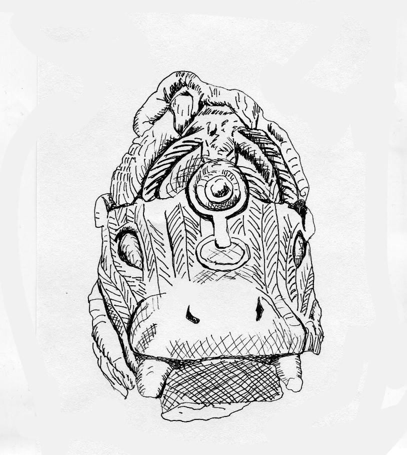 Fig. 3. This terracotta head of a crowned hippopotamus, 11th-15th century CE, was one of several animal pot lids found at an excavation at the Lafogido site in Ifẹ. Drawing of an 11th-15th century CE Ifẹ work in the collection of the National Commission for Museums and Monuments, Nigeria.