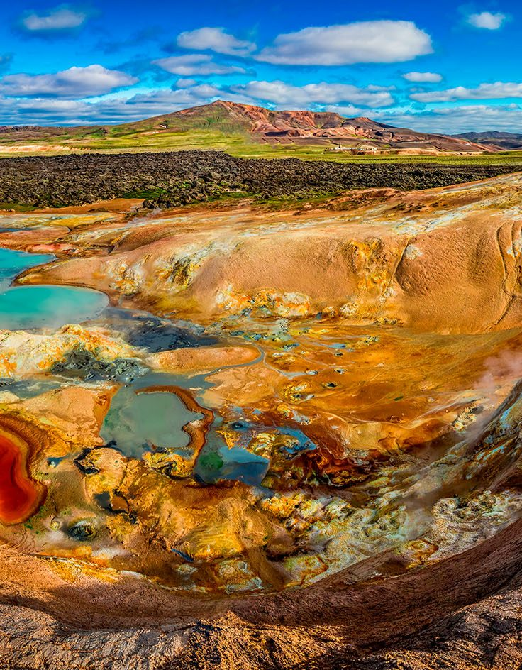 Panorama of volcanic mountain full of colorful minerals in Iceland