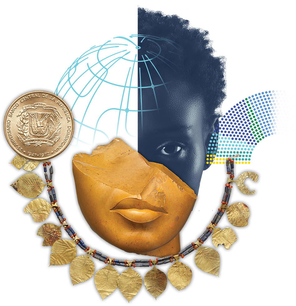 Illustration of woman, necklace, and coin