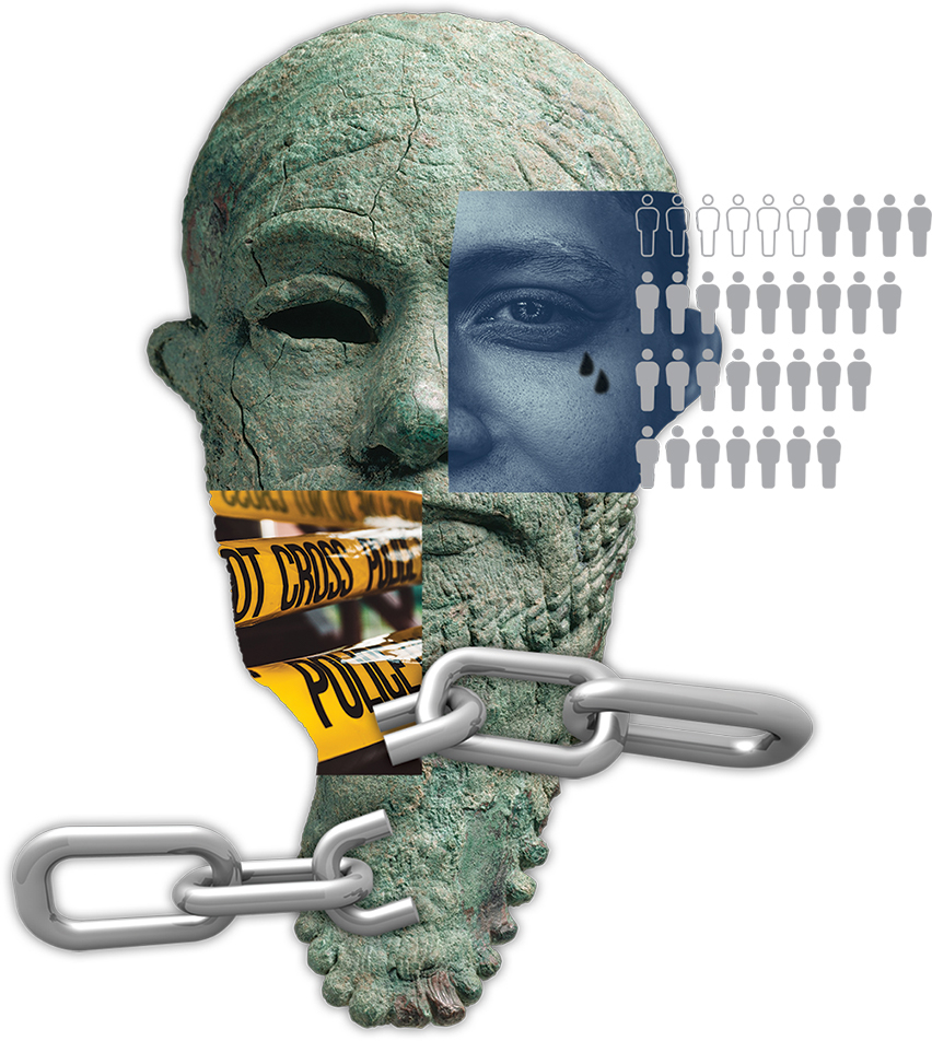 Illustration of statue head and male head along with chains and police tape