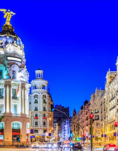 Madrid, Spain. Gran Via, main shopping street at twilight.